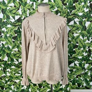 H&M Mock Neck Ruffle Front Sweater 860